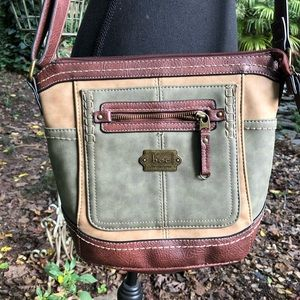 BOC green and brown crossbody bag